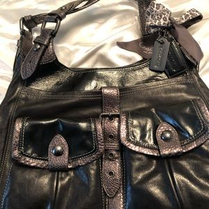 Coach black and silver shoulder bag